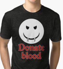 Donate Blood - Vampire Smiley Tri-blend T-Shirt
