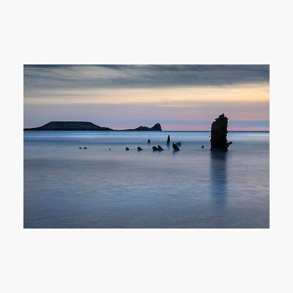 The wreck of the Helvetia on Rhossili Bay, South Wales UK Photographic Print