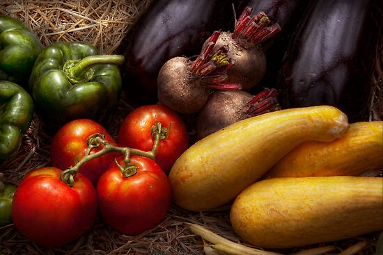 Food - Vegetables - Peppers, Tomatoes, Squash and some Turnips by Michael Savad