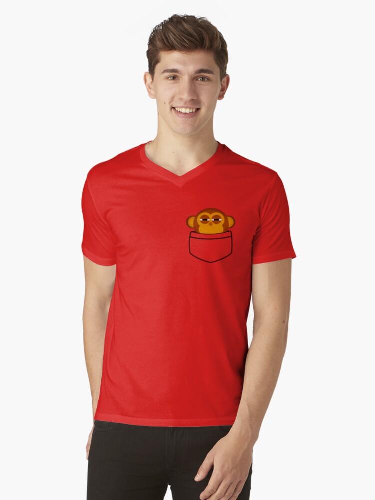 Pocket monkey is highly suspicious Mens V-Neck T-Shirt Front