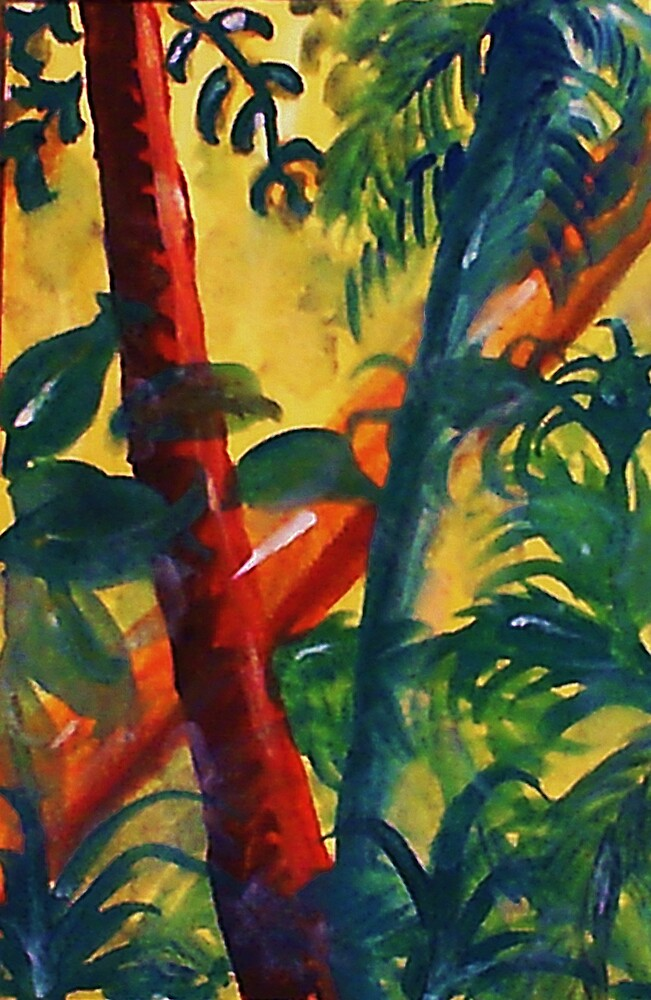 In the tropic mist, watercolor by Anna  Lewis, blind artist