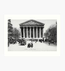 Vintage antique Paris Rue Royale Madeleine church Art Print