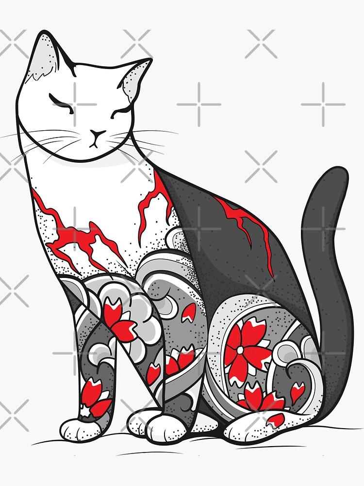 tatuaje de flor de cerezo gris y rojo. de runcatrun