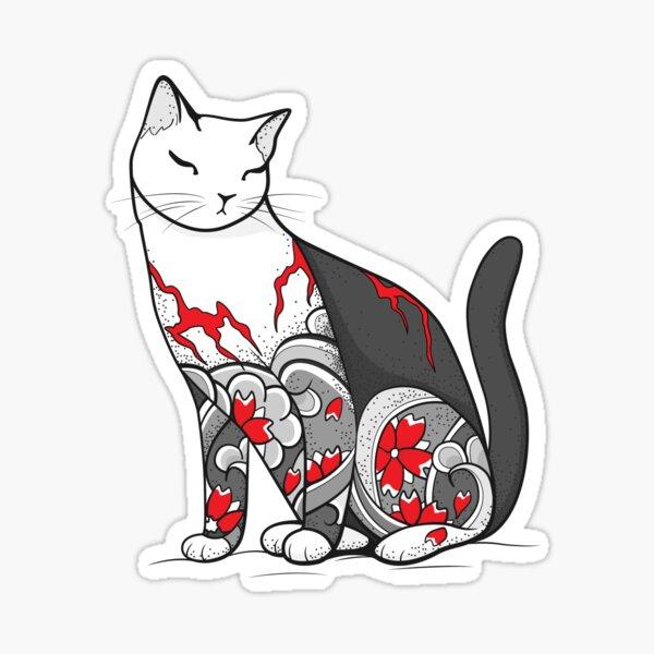 Cat in Cherry Blossom Tattoo Sticker