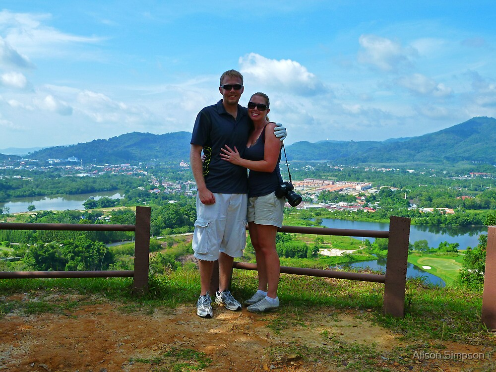 Zane and Alison overlooking Phuket, Thailand - Red Mountain Golf Club by Alison Simpson