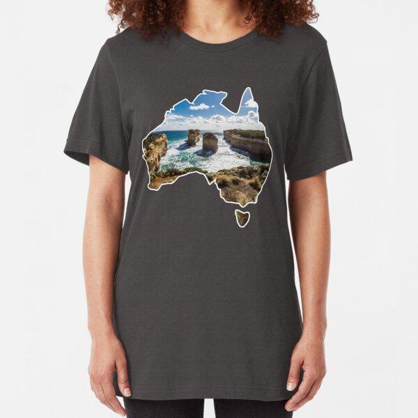 Outlined Australia - Twelve Apostles - Twelve Apostles - Great Ocean Road Slim Fit T-Shirt