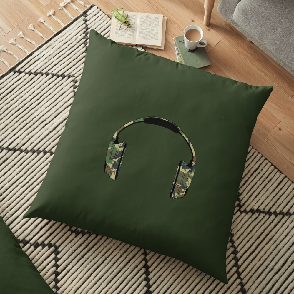 Headphones (Camouflage) Floor Pillow