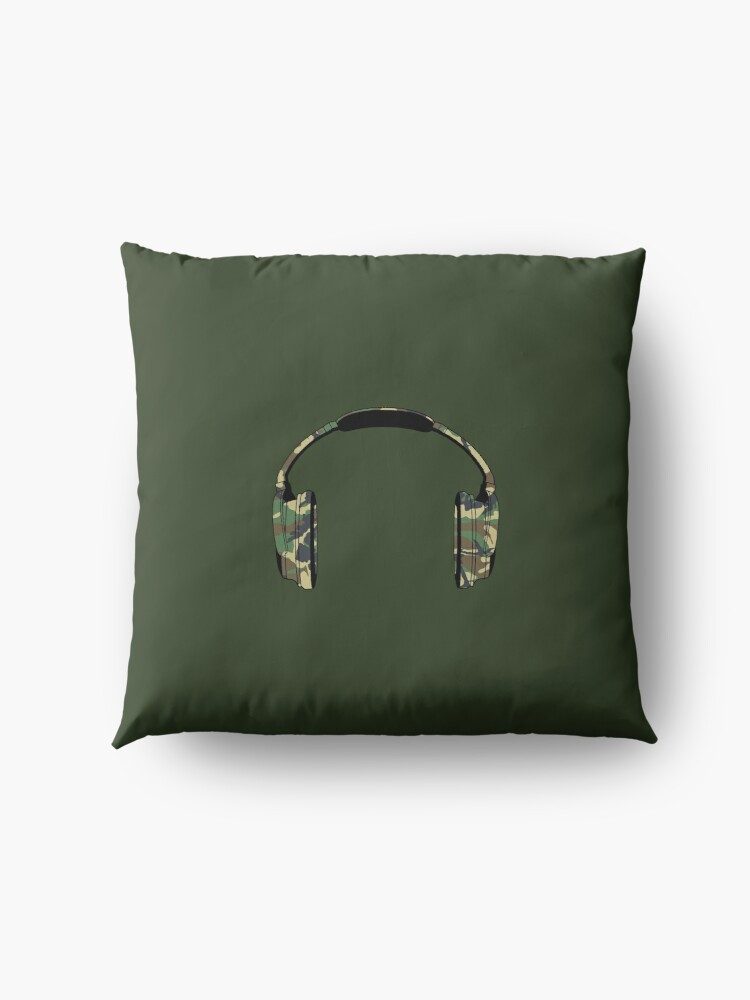 Alternate view of Headphones (Camouflage) Floor Pillow