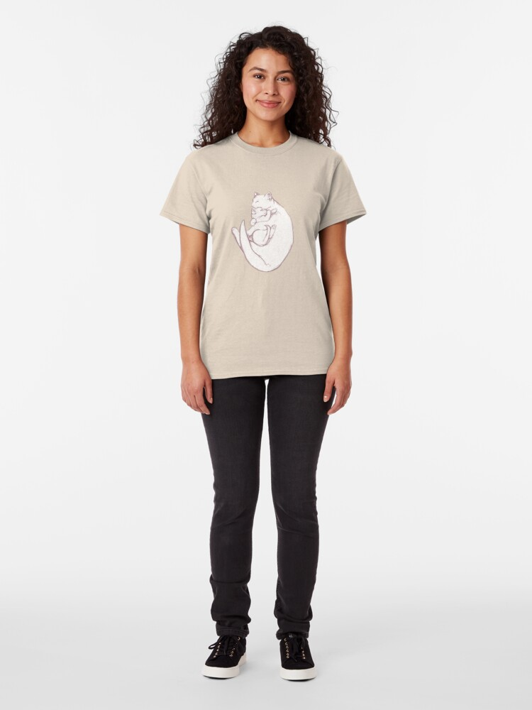 Alternate view of Sleeping Cat sketch pattern Classic T-Shirt