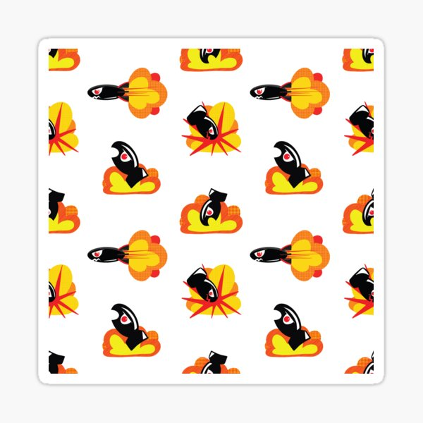 Boom! Pop Art Style Cartoon Bombs and Missiles Sticker