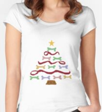 Funny Cool Dog Biscuit Christmas Tree Women's Fitted Scoop T-Shirt