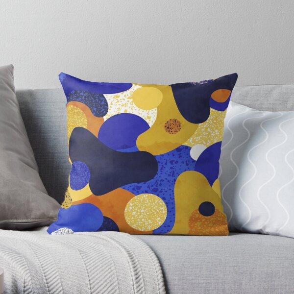Terrazzo galaxy midnight blue golden yellow mustard Throw Pillow