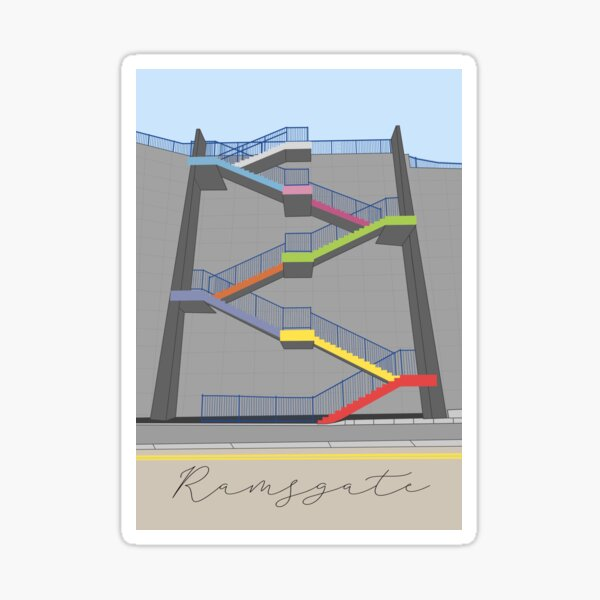 Ramsgate Harbour Rainbow Colour Stairs  Sticker