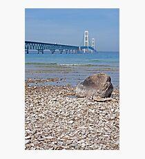 Mackinac Bridge With Rock Photographic Print