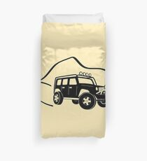 Jeep Wrangler JK With Mountain Background Tee / Sticker - Black Duvet Cover