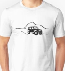 Jeep Wrangler JK With Mountain Background Tee / Sticker - Black Unisex T-Shirt
