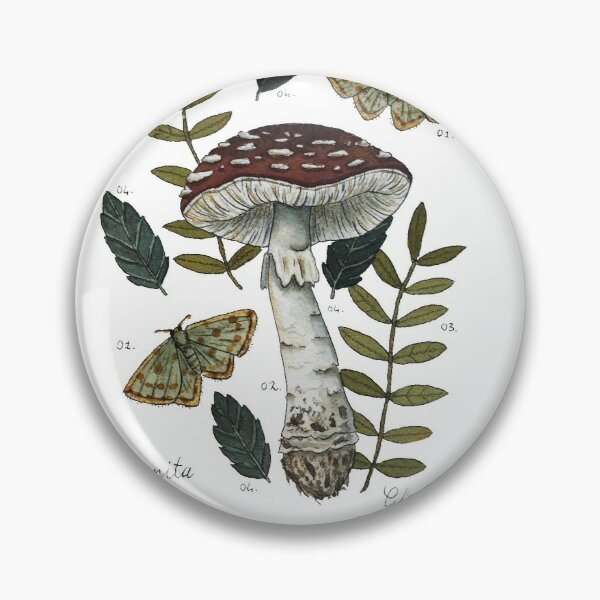 Amanita Muscaria with moths and leaves botanical illustration Pin