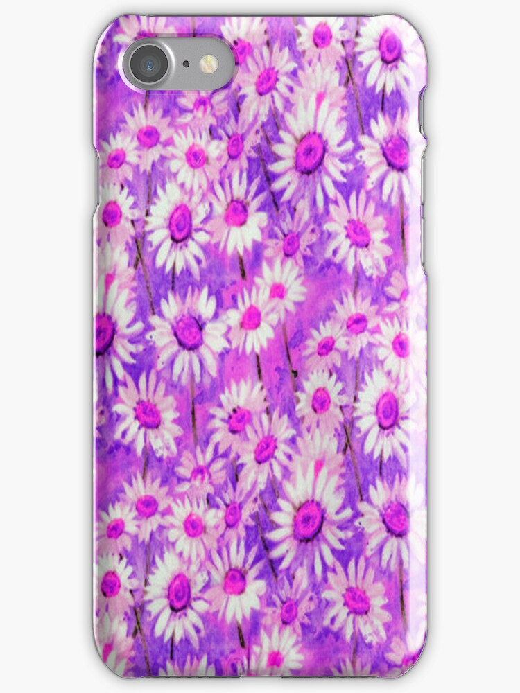Daisy Floral Purple iPhone Case by purplesensation