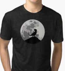 Dinosaur Moon Silhouette - T-Rex Tri-blend T-Shirt