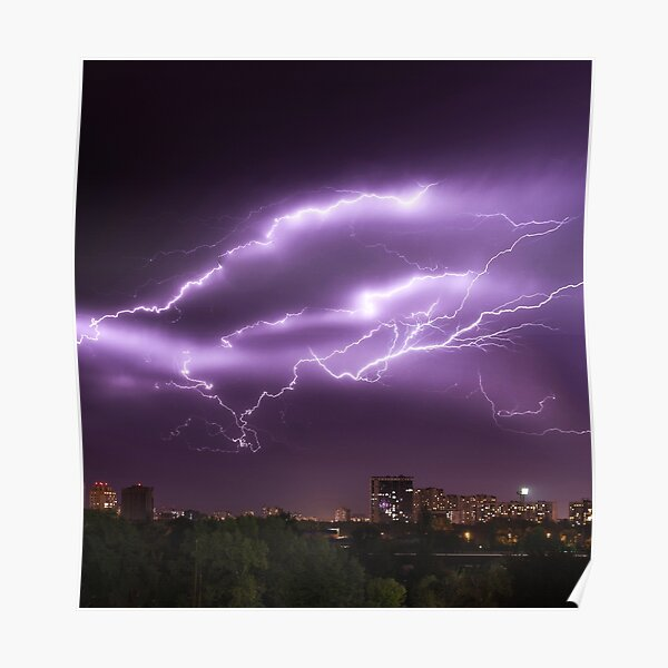 Purple Lightning At Night Above City Skyline Poster
