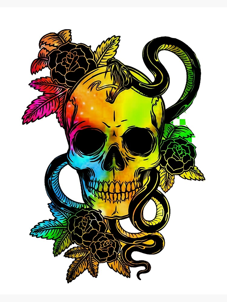 Unique Gothic Sugar Skull With Vibrant Colors Of Green Blue Yellow Red Black Art Board Print By Ausdoit Redbubble