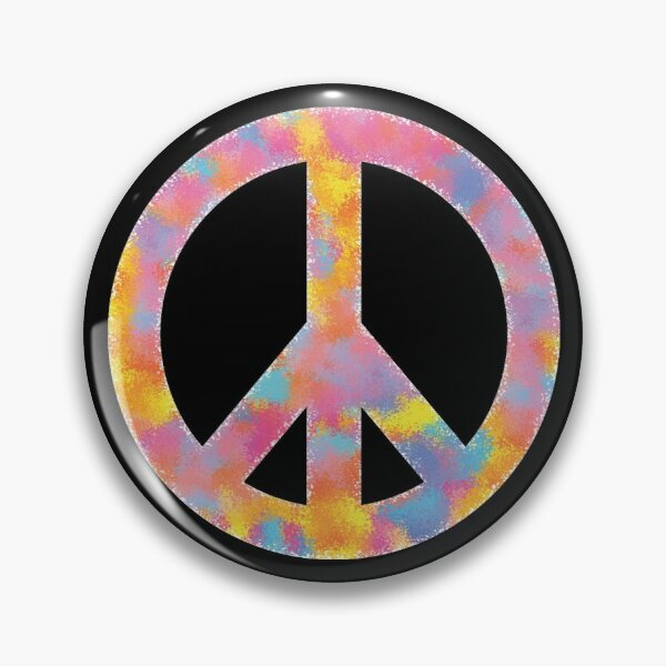 Peace Symbol Color Sponge Splash Look Pin