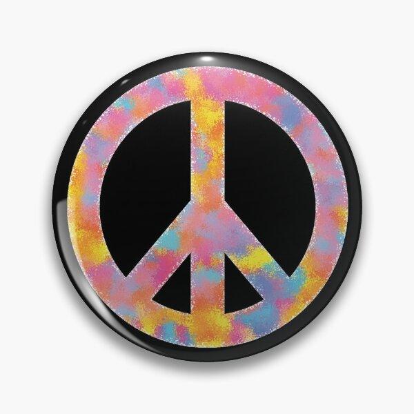 Peace Symbol Color Sponge Splash Look Pin