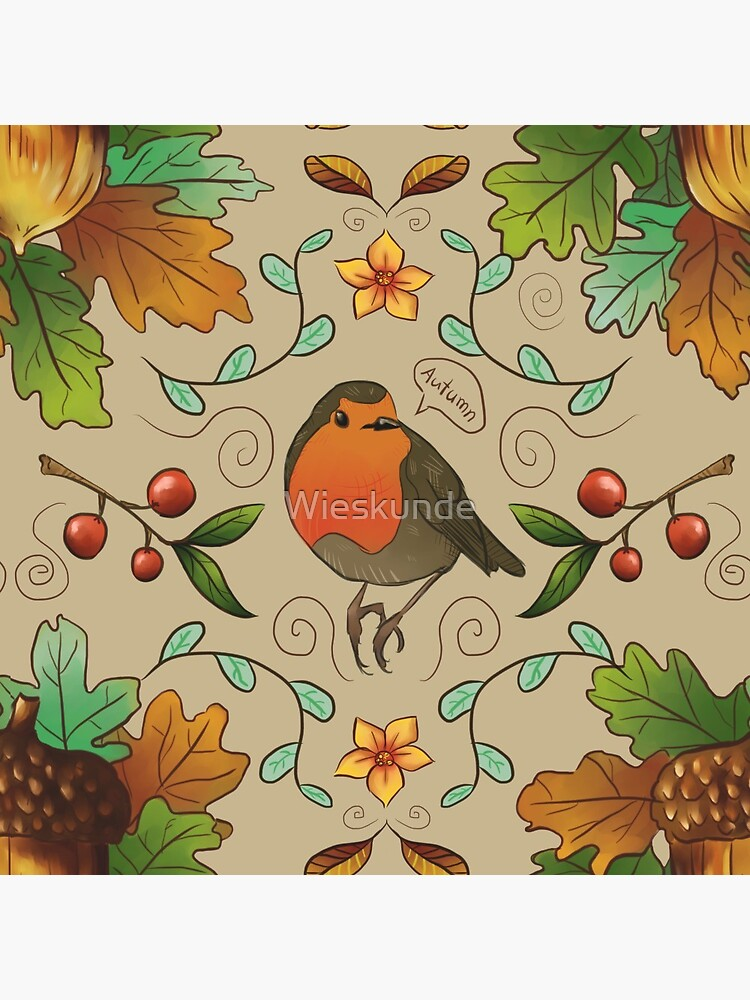 Autumn Robin Pattern by Wieskunde