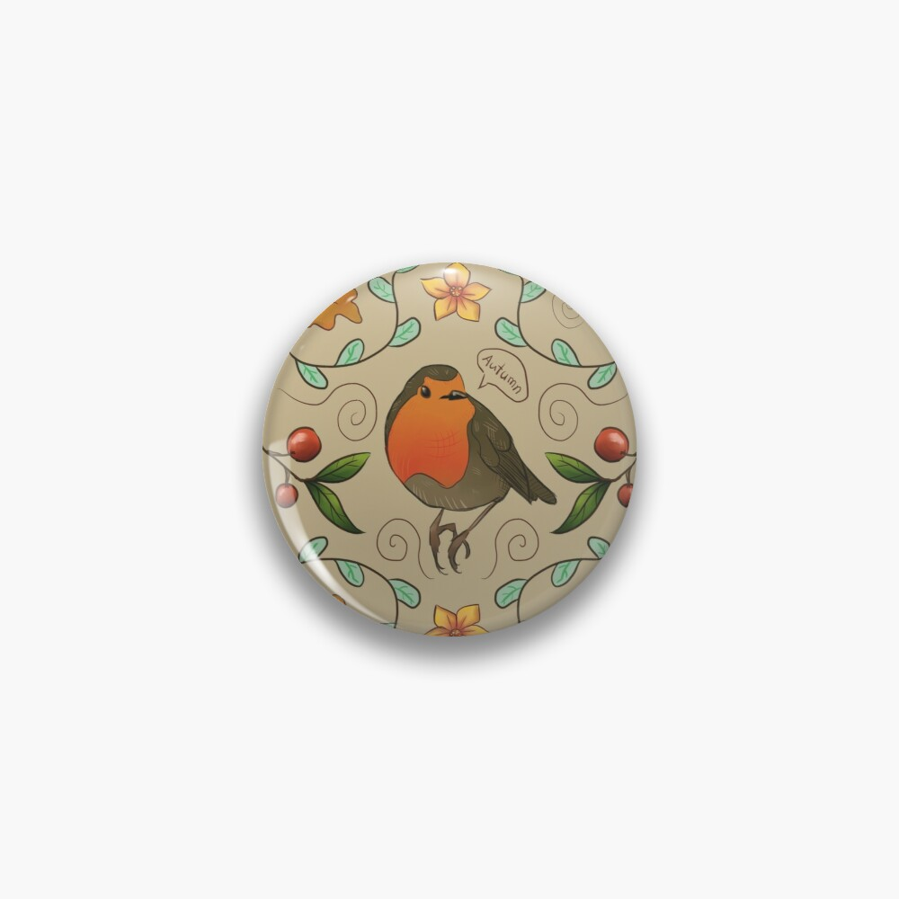 Autumn Robin Pattern Pin