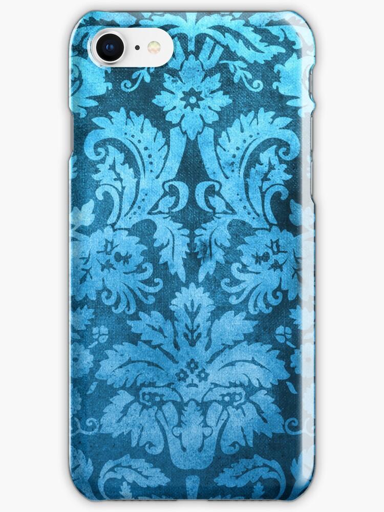 Blue Decorative Vintage Flowers by Rewards4life