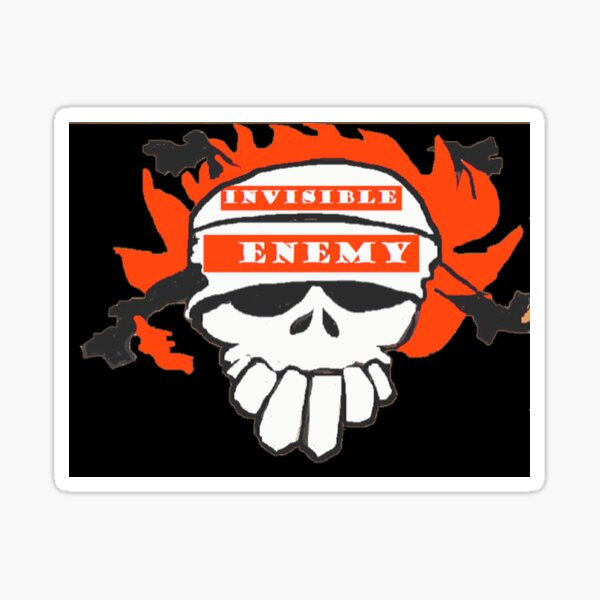 Skull T Shirts Online Invisible Enemies  Sticker