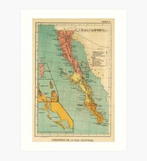 Vintage Map of Baja California (1899) Art Print