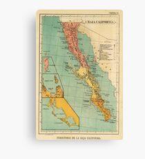 Vintage Map of Baja California (1899) Canvas Print