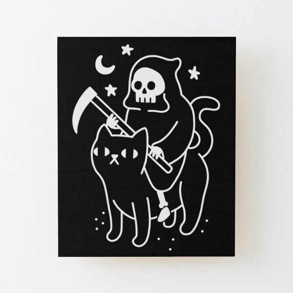 Death Rides A Black Cat Wood Mounted Print