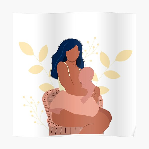Breastfeeding illustration, mother feeding a baby with breast with nature and leaves background. Concept  illustration in cartoon style. Poster