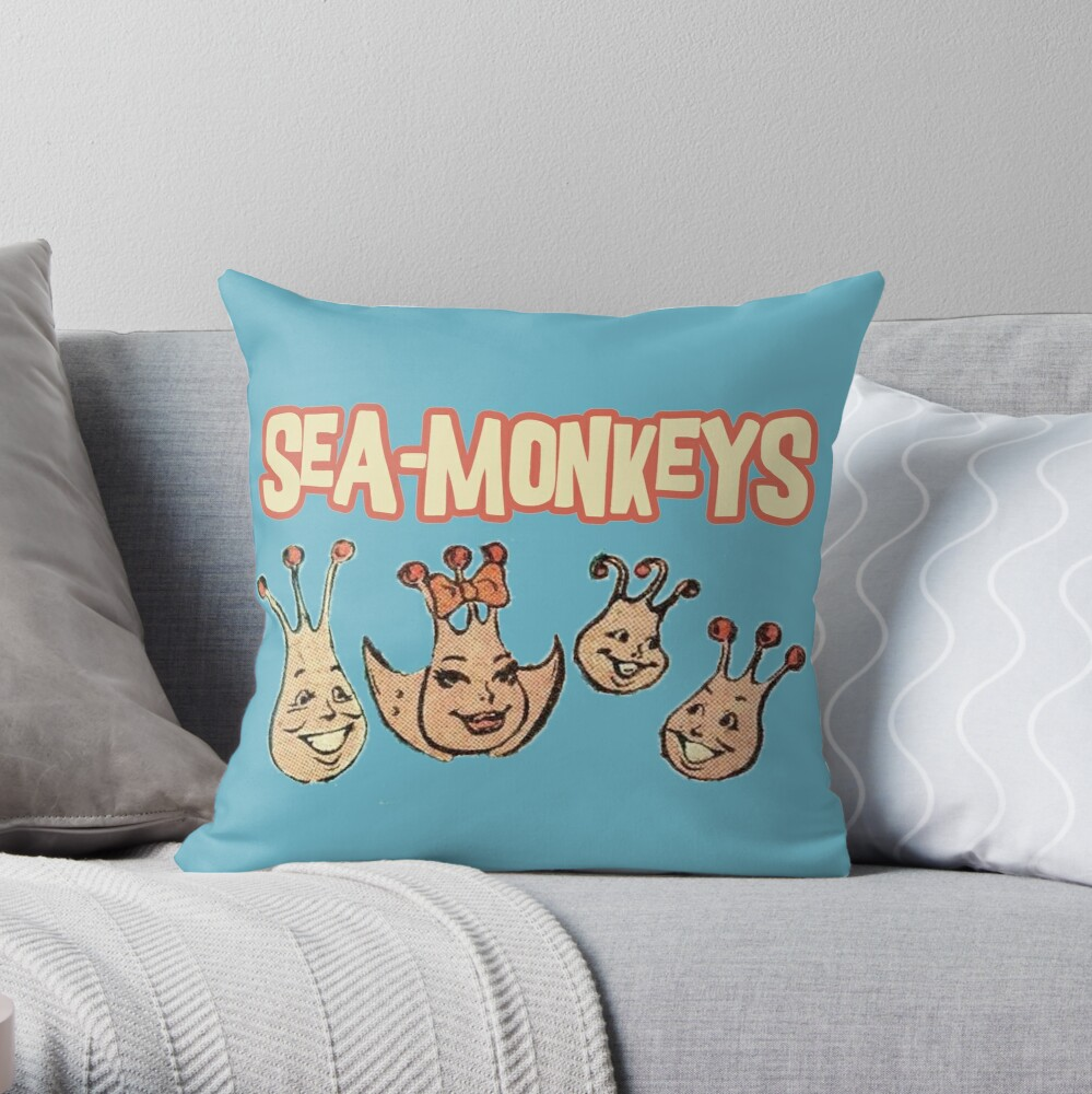 Sea Monkeys Throw Pillow By Shanghaijinks Redbubble