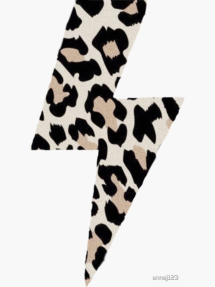 Cheetah Print Lightning Bolt Sticker by annaj123