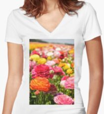 ield of multicolor cultivated Buttercup (Ranunculus) flowers Women's Fitted V-Neck T-Shirt