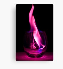 Purple Flames in a Glass Canvas Print