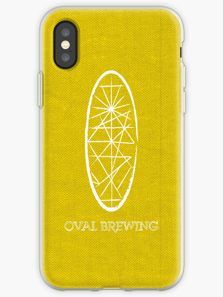 Oval White Text -  Yellow iPhone Case by redbenn