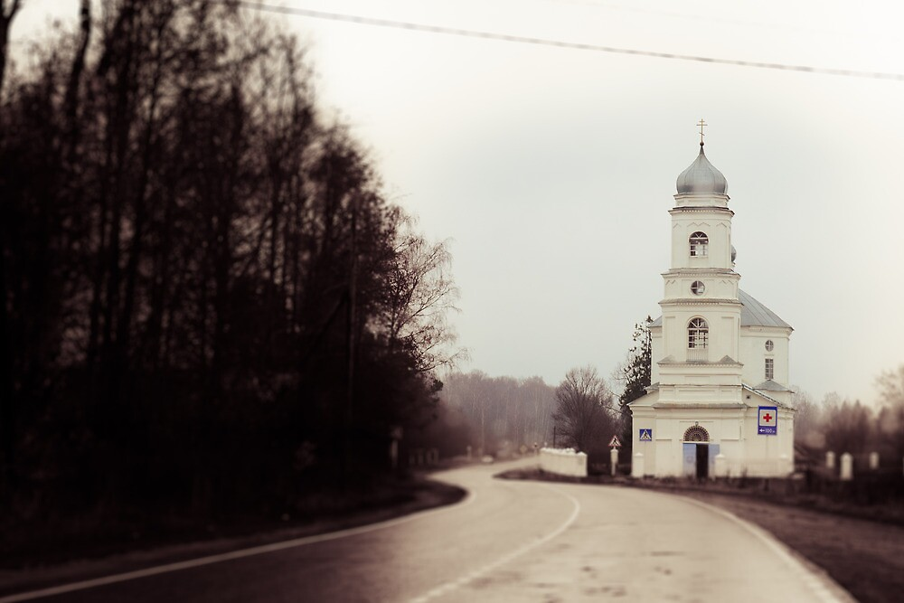 The church on the road by Michael Goyberg