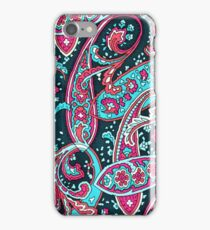 Retro pink teal vintage paisley pattern  iPhone Case/Skin