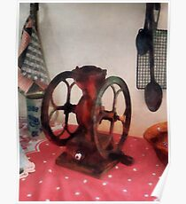 Coffee Grinder on Red Tablecloth Poster