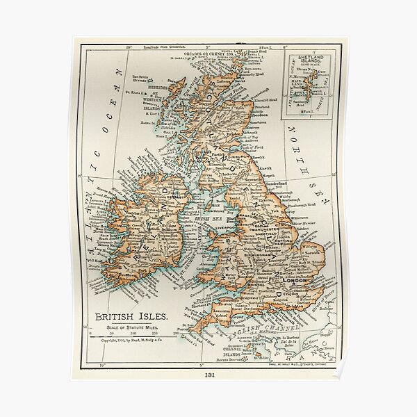A4//A3 Poster Vintage Map Poster Paleontologist Map of Britain