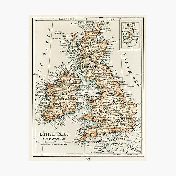Vintage UK Map Photographic Print