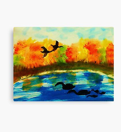 The Bird invasion, watercolor Canvas Print