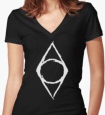 Thieves Guild Shadowmark (white) Women's Fitted V-Neck T-Shirt