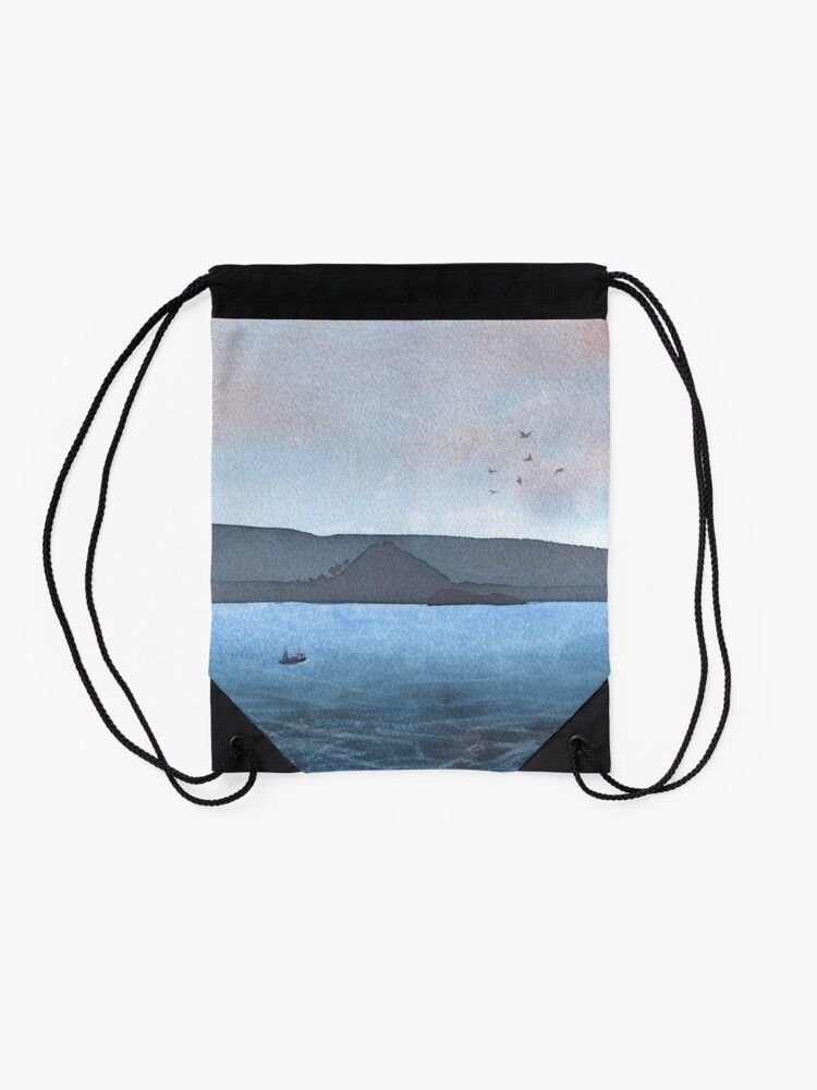 Alternate view of Berwick Law and Craig Leith, November 2018 Drawstring Bag