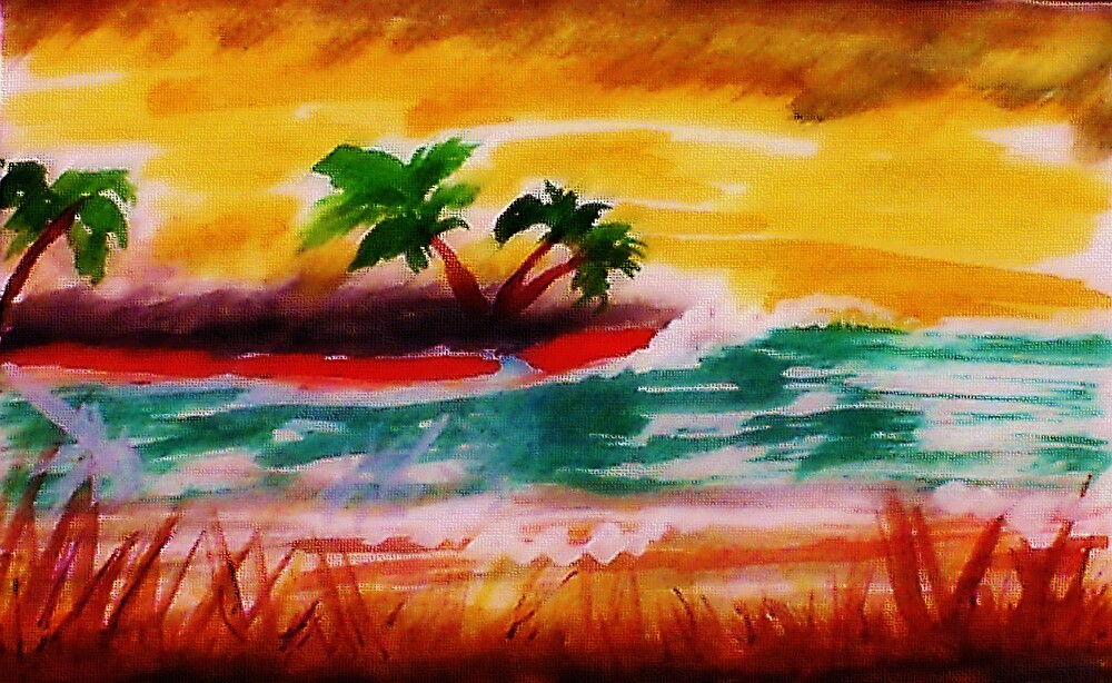 Sunrise at  the beach, watercolor by Anna  Lewis, blind artist