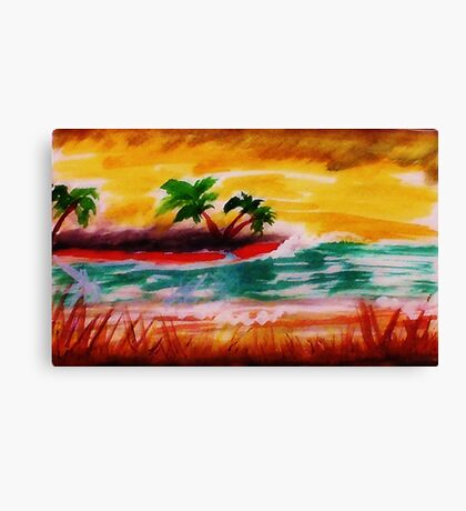 Sunrise at  the beach, watercolor Canvas Print